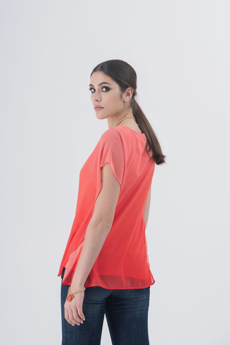 Blusa sfumata in georgette